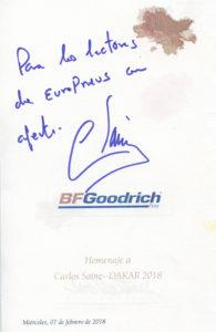 Dedicatoria de Carlos Sainz a los lectores de 'EuroPneus'