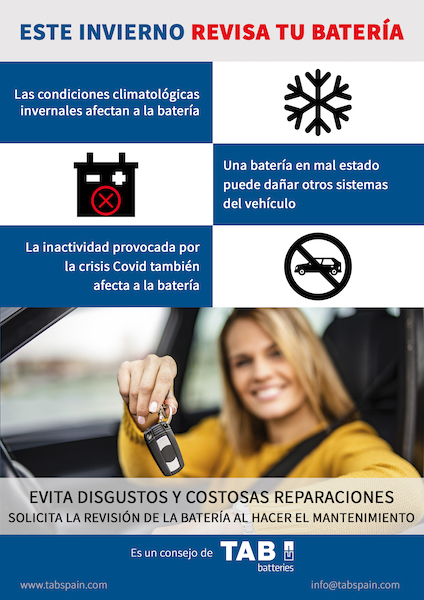 TAB Spain recuerda la importancia de la revisión invernal de la batería